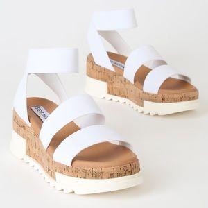 Steve Madden White Bandi Platform Wedge Sandal